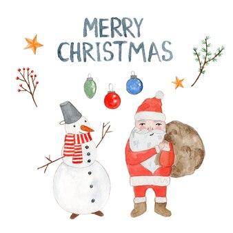 Милая акварельная рождественская открытка с дедом морозом, снеговиком, шарами и ветками