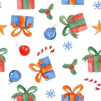 Симпатичная акварель рождество бесшовные модели с яркими подарочными коробками, конфетами холли и шарами