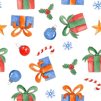 Cute watercolor christmas seamless pattern with bright gift boxes candies holly and balls