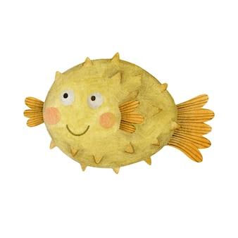 귀여운 수채화 물고기 고슴도치 흰색 배경에 고립