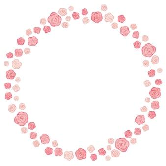 Милая акварель цветочная рамка. фон с розовыми розами.