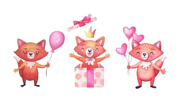 생일 파티를위한 귀여운 수채화 여우. 문자 세트