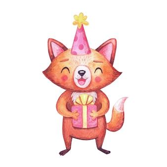 ギフトボックス付きの誕生日パーティーのためのかわいい水彩キツネ。白の文字。お祝いのための動物。