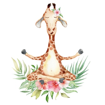Cute watercolor giraffe with tropical flowers in yoga position hand drawn illustration