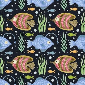 Cute watercolor seamless pattern cartoon underwater ocean sea animals on a black background fish