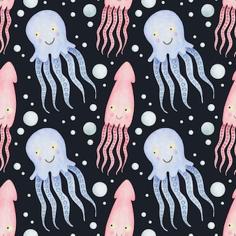 Cute watercolor seamless pattern cartoon underwater ocean sea animals on a black background octopus
