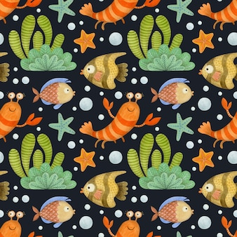 Cute watercolor seamless pattern cartoon underwater ocean sea animals on a black background shrimp