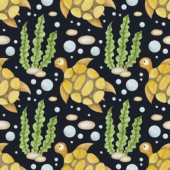 Cute watercolor seamless pattern cartoon underwater ocean sea animals on a black background turtle