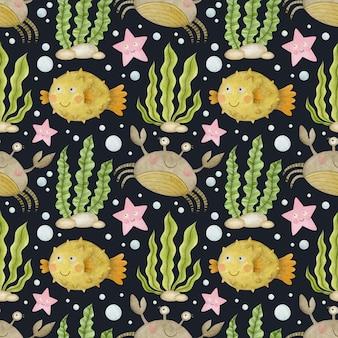 검은 배경 게에 귀여운 수채화 원활한 패턴 만화 수 중 바다 바다 동물