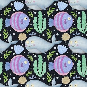 검은 배경 돌고래에 귀여운 수채화 원활한 패턴 만화 수 중 바다 바다 동물
