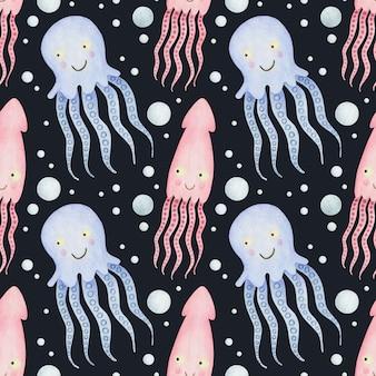 검은 배경 문어에 귀여운 수채화 원활한 패턴 만화 수 중 바다 바다 동물