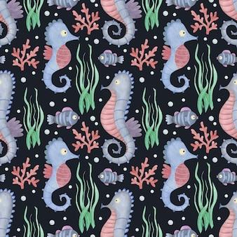 검은 배경 seahors에 귀여운 수채화 원활한 패턴 만화 수 중 바다 바다 동물
