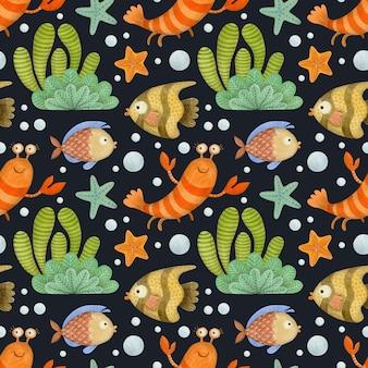 검은 배경 새우에 귀여운 수채화 원활한 패턴 만화 수 중 바다 바다 동물