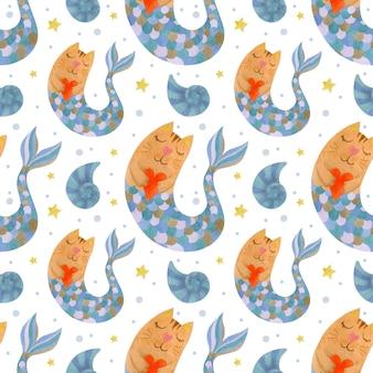 Симпатичные акварель бесшовные модели кошек русалки