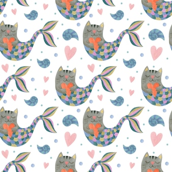 Cute watercolor seamless pattern cats mermaids
