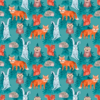 Cute watercolor seamless pattern with cheerful animals in blue coniferous forest for kids surface design