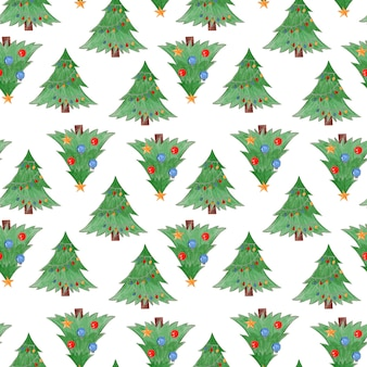 Cute watercolor seamless pattern with green christmas fir trees with balls and baubles