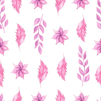 Cute watercolor seamless pattern with pink flowers