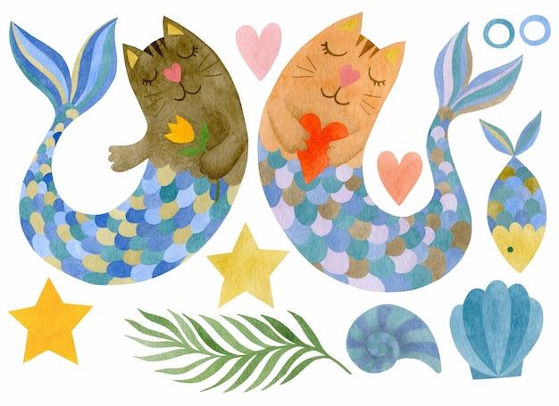 Cute watercolor set of mermaid cats seashells star bulbs heart algae