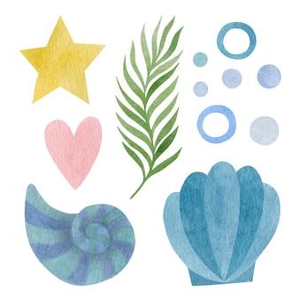 Симпатичный акварельный набор ракушек, звездных луковиц, сердца, водорослей