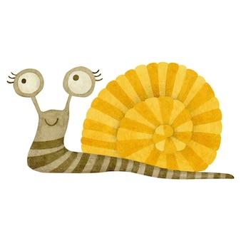 흰색 배경에 고립 된 귀여운 수채화 달팽이