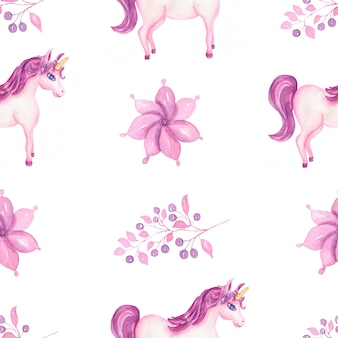 Cute watercolor unicorn pattern with flowers