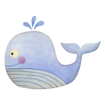 Cute watercolor whale isolated on white background