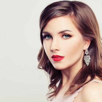 Cute woman. beautiful face, hairstyle, natural makeup, perfect skin