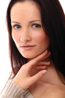 Cute woman face with perfect skin