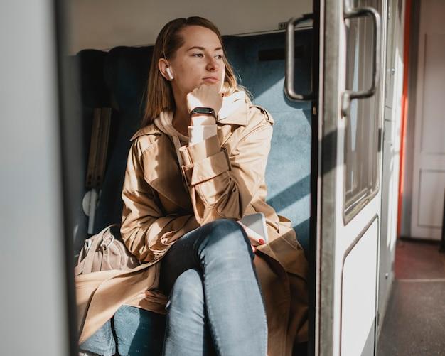 電車が駅を出るのを待っているかわいい女性