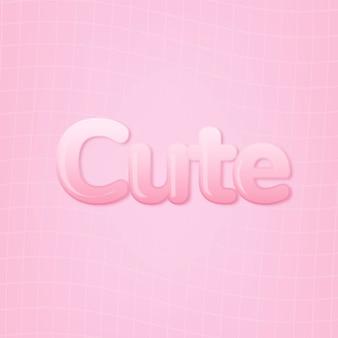 Carino in parola in stile testo gomma da masticare rosa