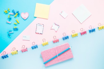 Cute workplace with colorful stationary
