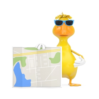 Милый желтый талисман характера человека утки шаржа с абстрактной картой плана города на белой предпосылке. 3d рендеринг