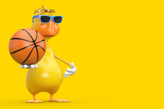 Cute yellow cartoon duck person character mascot with basketball ball on a white background. 3d rendering