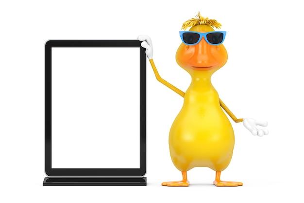 白い背景の上のあなたのデザインのテンプレートとして空白の見本市lcdスクリーンスタンドとかわいい黄色の漫画のアヒルの人のキャラクターのマスコット。 3dレンダリング