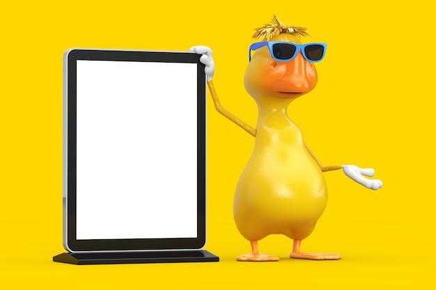 黄色の背景にあなたのデザインのテンプレートとして空白のトレードショーのlcd画面スタンドとかわいい黄色の漫画のアヒルの人のキャラクターのマスコット。 3dレンダリング