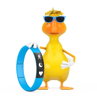 Cute yellow cartoon duck person character mascot with blue fitness tracker on a white background. 3d rendering