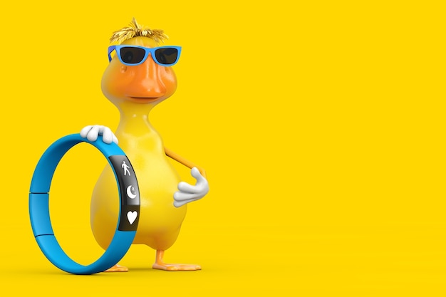 Cute yellow cartoon duck person character mascot with blue fitness tracker on a yellow background. 3d rendering
