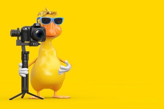 Cute yellow cartoon duck person character mascot with dslr or video camera gimbal stabilization tripod system on a white background. 3d rendering