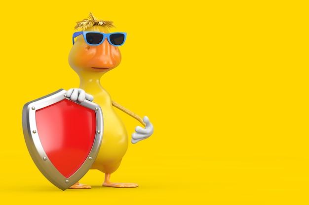 노란색 배경에 빨간색 금속 보호 방패가 있는 귀여운 노란색 만화 오리 사람 캐릭터 마스코트. 3d 렌더링