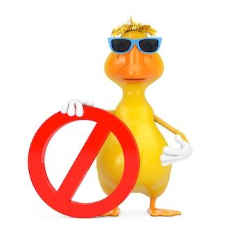 赤い禁止または白い背景の上の禁止記号とかわいい黄色の漫画のアヒルの人のキャラクターのマスコット。 3dレンダリング
