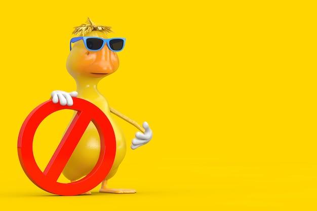 黄色の背景に赤い禁止または禁止記号のかわいい黄色の漫画のアヒルの人のキャラクターのマスコット。 3dレンダリング