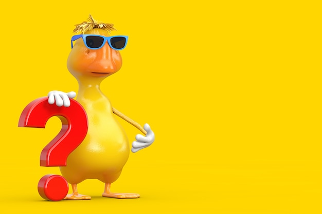 Cute yellow cartoon duck person character mascot with red question mark sign on a white background. 3d rendering