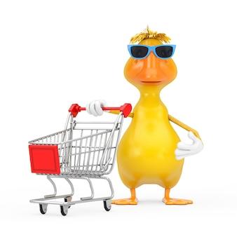흰색 바탕에 쇼핑 카트 트롤리가 있는 귀여운 노란색 만화 오리 사람 캐릭터 마스코트. 3d 렌더링