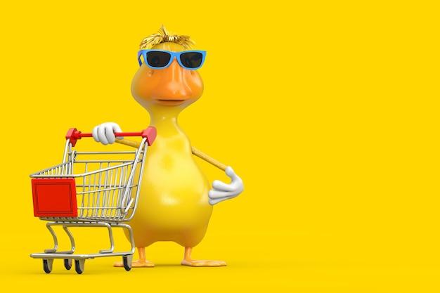 노란색 배경에 쇼핑 카트 트롤리가 있는 귀여운 노란색 만화 오리 사람 캐릭터 마스코트. 3d 렌더링