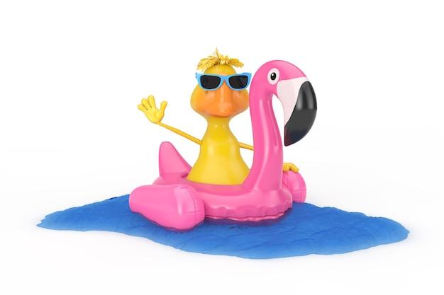 Симпатичная желтая мультяшная утка персонаж плавание с летним плавательным бассейном надувная резиновая розовая игрушка фламинго на белом фоне. 3d рендеринг