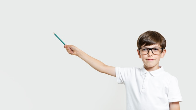 Cute young boy with eyeglasses