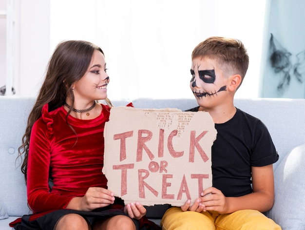 Cute young brothers holding trick or treat sign
