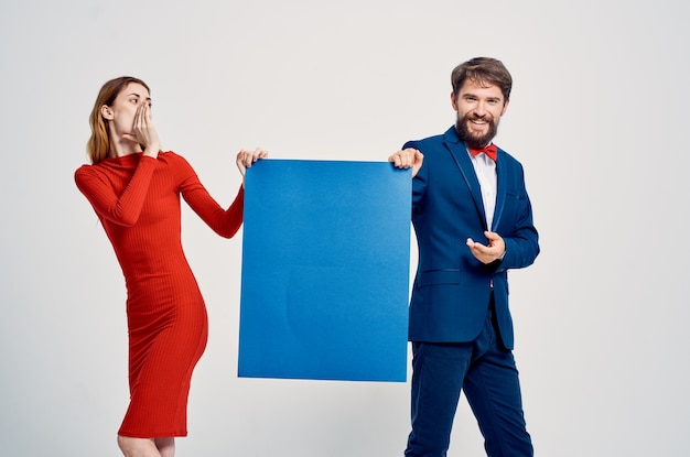 かわいい若いカップル広告看板コピースペーススタジオ