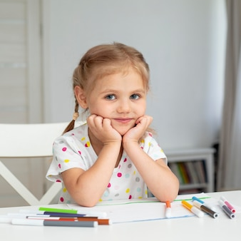 Cute young girl at home Free Photo